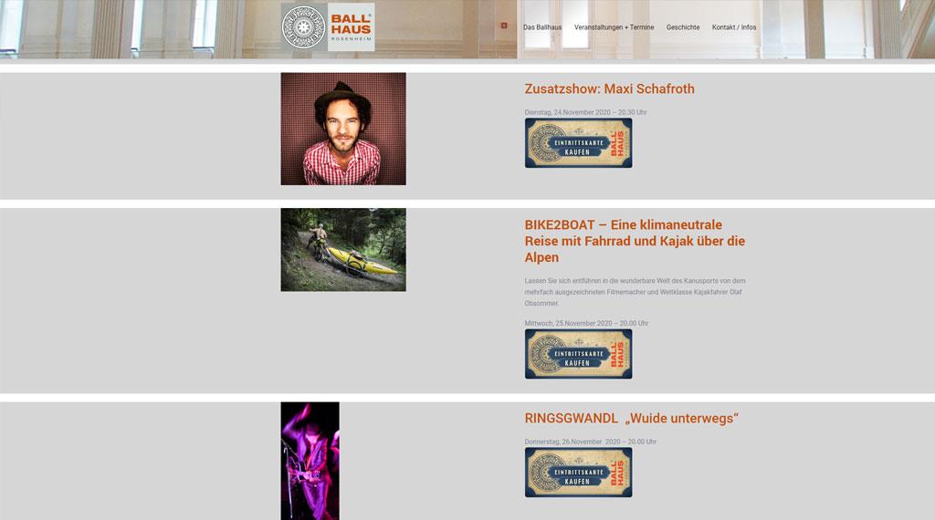 Ballhaus Rosenheim Homepage Erstellung von ToKo-Media