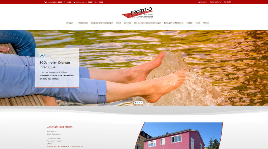 Homepage für othopädische Einlagen, Maßschuhe, orthopädische Schuhzurichtungen, Diabetikerhilfe